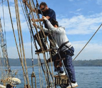 Climbing the Mast on Sydney Harbour