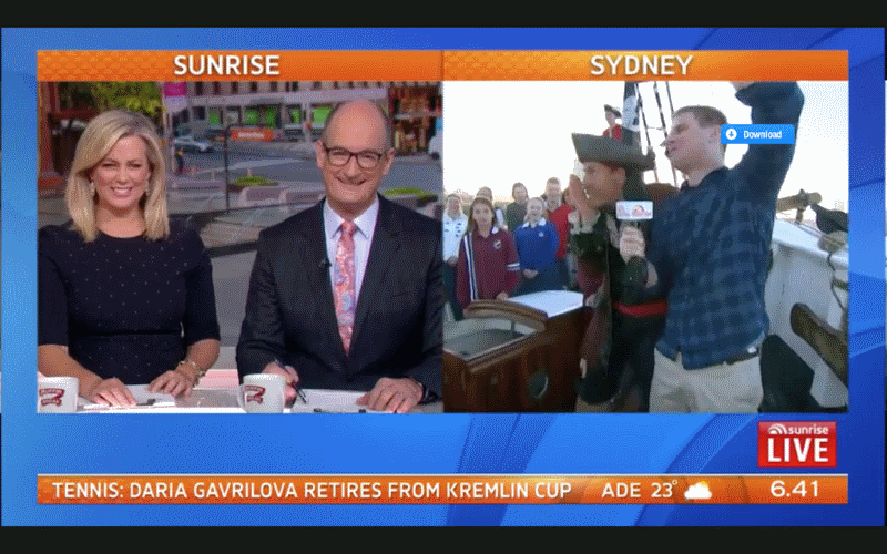 Sydney Tall Ships Features On Channel 7 Sunrise Show